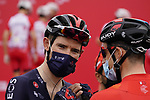 Luke Rowe (WAL) Ineos Grenadiers and Wout Poels (NED) Bahrain Victorious catch up at sign on before the start of Stage 5 of the 2021 UAE Tour running 170km from Fujairah to Jebel Jais, Fujairah, UAE. 25th February 2021.  <br /> Picture: Eoin Clarke   Cyclefile<br /> <br /> All photos usage must carry mandatory copyright credit (© Cyclefile   Eoin Clarke)