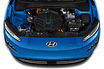 Car Stock 2022 Hyundai Kona-Electric Limited 5 Door SUV Engine  high angle detail view