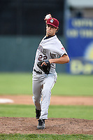 Mahoning Valley Scrappers pitcher Jordan Carter (22) delivers a pitch during a game against the Batavia Muckdogs on June 20, 2014 at Dwyer Stadium in Batavia, New York.  Batavia defeated Mahoning Valley 7-4.  (Mike Janes/Four Seam Images)
