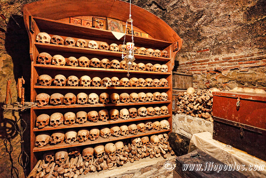 The sacristy of the Great Meteoron Monastery (Megalo Meteoro) in the Meteora Monastery complex in Greece.