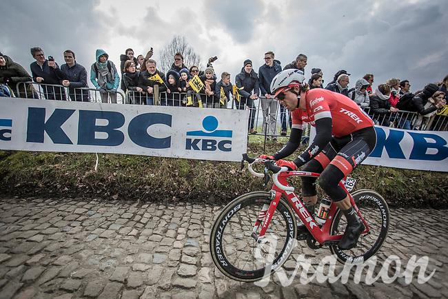 Koen De Kort (NED/Trek Segafredo) up the cobbles of the  Koppenberg. <br /> <br /> 102nd Ronde van Vlaanderen 2018<br /> 1day race: Antwerp › Oudenaarde - BEL (265k)