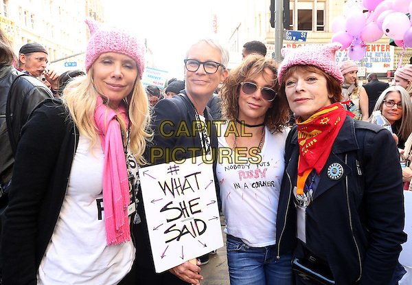 ALos Angeles CA - JANUARY 21: Rosanna Arquette, Jamie Lee Curtis, Jennifer Grey, Frances Fisher, At Women's March Los Angeles, At Downtown Los Angeles In California on January 21, 2017. <br /> CAP/MPI/FS<br /> ©FS/MPI/Capital Pictures