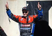 Aug. 21, 2011; Brainerd, MN, USA: NHRA funny car driver Bob Tasca III during the Lucas Oil Nationals at Brainerd International Raceway. Mandatory Credit: Mark J. Rebilas-