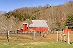 Blue Ridge Mountains. Barn at Creekside Farm early Spring.