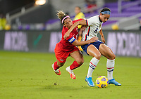 ORLANDO CITY, FL - FEBRUARY 18: Lynn Williams #6 of the United States battles with Desiree Scott #11 of Canada during a game between Canada and USWNT at Exploria Stadium on February 18, 2021 in Orlando City, Florida.