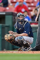 Pawtucket Red Sox catcher Blake Swihart (2) looks to the dugout during a game against the Buffalo Bisons on August 23, 2014 at Coca-Cola Field in Buffalo, New  York.  Buffalo defeated Pawtucket 15-2.  (Mike Janes/Four Seam Images)