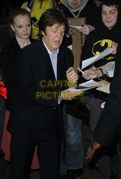 Sir Paul McCartney.attended Mary MCCartney's 'Food' book launch party, Liberty London department store, Regent St., London, England..May 3rd, 2012.half length black suit fans signing autographs mouth open.CAP/CAN.©Can Nguyen/Capital Pictures.