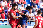 Waleed Mohamed Alhayam of Bahrain (L) fights for the ball with Teerasil Dangda of Thailand during the AFC Asian Cup UAE 2019 Group A match between Bahrain (BHR) and Thailand (THA) at Al Maktoum Stadium on 10 January 2019 in Dubai, United Arab Emirates. Photo by Marcio Rodrigo Machado / Power Sport Images