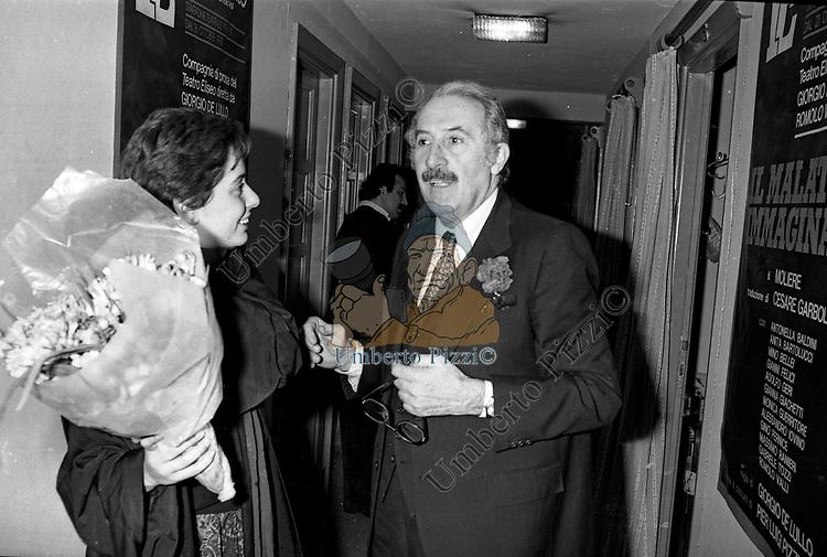 ROMOLO VALLI E MONICA GUERRITORE<br /> TEATRO ELISEO ROMA 1979