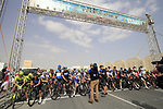 Waiting to start Stage 1 of the Tour of Qatar 2012 running 142.5km from Barzan Towers to Doha Golf Club, Doha, Qatar. 5th February 2012.<br /> (Photo by Eoin Clarke/NEWSFILE).