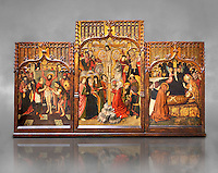 Gothic Catalan altarpiece of, left to right, the martydom of St Bartholomew, Calvaty and the deat of St Mary Magdelene, by Jaume Huguet, Barcelona circa 11465-1480, tempera and gold leaf on for wood, from the church of San Marti de Petegas de san Seloni, Valle Oriental, Spain.  National Museum of Catalan Art, Barcelona, Spain, inv no: MNAC   24365. Against a grey textured background.