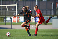 Maud Rutgers (3) of the Netherlands and Margaux Martle (10) of Belgium  in action during an international friendly female soccer game between the national teams of Belgium , called the Red Flames U17 and the Netherlands on Wednesday 8th of September 2020  in Kalmthout , Belgium . PHOTO SPORTPIX.BE | SPP | SEVIL OKTEM