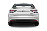 Straight rear view of 2016 Hyundai Sonata-Plug-in-Hybrid Limited 4 Door Sedan Rear View  stock images