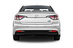 Straight rear view of 2016 Hyundai Sonata-Plug-in-Hybrid Limited 4 Door Sedan Rear View  stock images