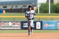 Glendale Desert Dogs third baseman Yu Chang (9), of the Cleveland Indians organization, rounds the bases after hitting a home run in the fifth inning of an Arizona Fall League game against the Peoria Javelinas at Peoria Sports Complex on October 22, 2018 in Peoria, Arizona. Glendale defeated Peoria 6-2. (Zachary Lucy/Four Seam Images)