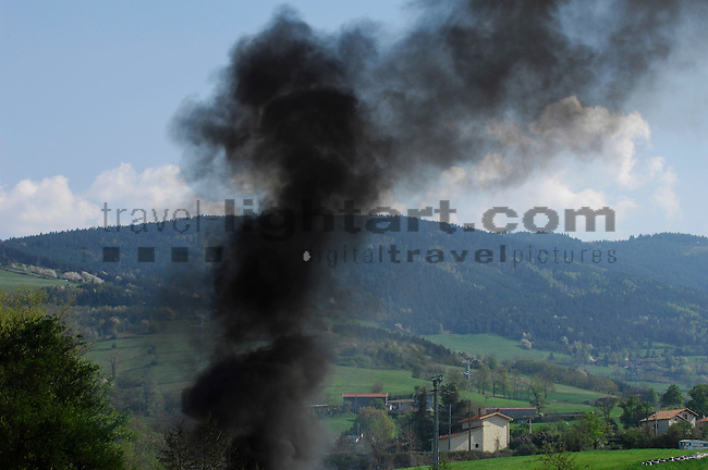 Illegal burning of trash, near St. Chamond, south-east of Lyon, Loire, France.