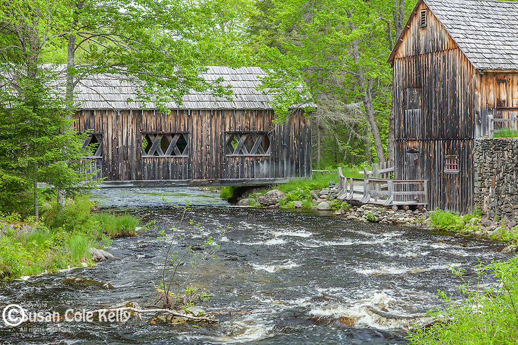 Covered bridge and Gristmill at Leonard's Mills, Bradley, Maine, USA