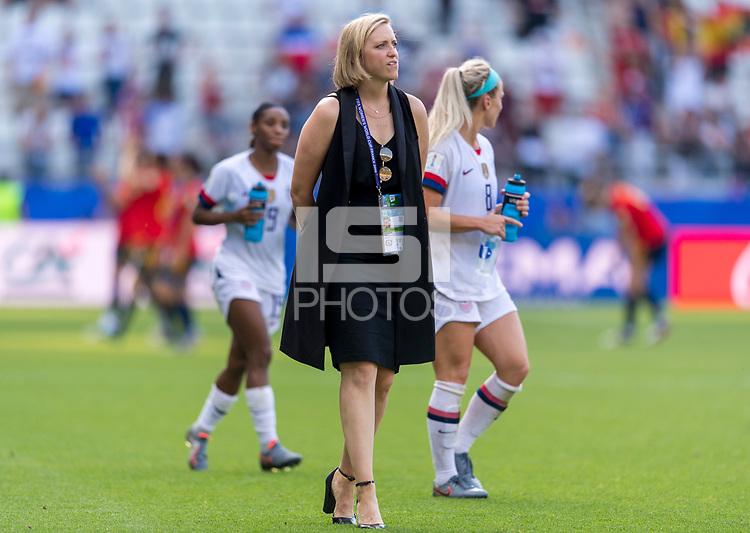 REIMS,  - JUNE 24: Molly Downtain surveys the field during a game between NT v Spain and  at Stade Auguste Delaune on June 24, 2019 in Reims, France.