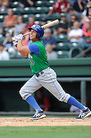 Infielder Mark Donato (3) of the Lexington Legends bats in a game against the Greenville Drive on Friday, August 18, 2013, at Fluor Field at the West End in Greenville, South Carolina. Lexington won, 5-0. (Tom Priddy/Four Seam Images)