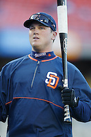 Sean Burroughs of the San Diego Padres before a 2002 MLB season game against the Los Angeles Dodgers at Dodger Stadium, in Los Angeles, California. (Larry Goren/Four Seam Images)