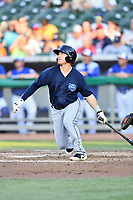 Mobile BayBears left fielder Zach Gibbons (14) swings at a pitch during a game against the Tennessee Smokies at Smokies Stadium on June 2, 2018 in Kodak, Tennessee. The BayBears defeated the Smokies 1-0. (Tony Farlow/Four Seam Images)