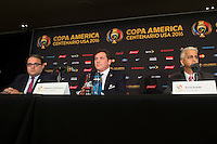 New York, NY - Friday June 24, 2016: CONCACAF president Victor Montagliani, CONMEBOL president Alejandro Dominguez, Copa America Local Organizing Committee chairman and U.S. Soccer President Sunil Gulati during a press conference prior to the final of the Copa America Centenario at The Westin New York at Times Square.<br /> <br /> Photo during American Cup USA 2016 Press Conference The Westin New York at Times Square --- Foto durante la Conferencia de Prensa previo a la Gran Final de la Copa America Centenario USA 2016, enla foto: Alejandro Dominguez, Presidente CONMEBOL, Victor Montagliani, Presidente CONCACAF, Sunil Gulati<br /> <br /> ---24/06/2016/MEXSPORT/ Jorge Martinez.