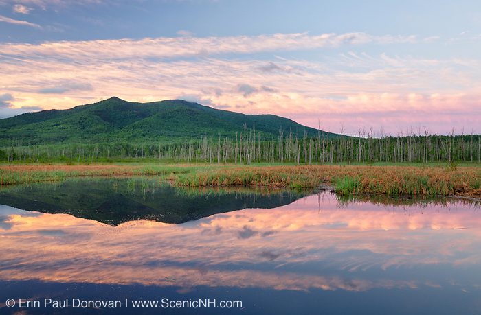 Pondicherry Wildlife Refuge - Cherry Mountain from Moorhen Marsh along the Presidential Range Rail Trail  (Cohos Trail) in Jefferson, New Hampshire at sunrise during the spring months.