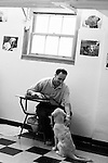 BEACON, NEW YORK:  Jesse, in prison for manslaughter in the first degree, plays with 5-month-old Gigi during class for the Puppies Behind Bars (PPB) program at Fishkill Correctional Facility. The program works with prison inmates in New York, New Jersey, and Connecticut to train service dogs, including ones who help injured soldiers. Fishkill Correctional Facility is a medium security prison in New York with 22 men in the puppy program.