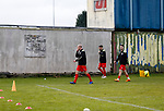 Heanor players return to their dressign room after warming up. Hucknall Town v Heanor Town, 17th October 2020, at the Watnall Road Ground, East Midlands Counties League. Photo by Paul Thompson.