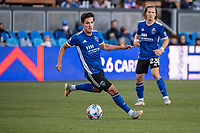 SAN JOSE, CA - MAY 15: Carlos Fierro #7 of the San Jose Earthquakes looks to pass the ball during a game between San Jose Earthquakes and Portland Timbers at PayPal Park on May 15, 2021 in San Jose, California.