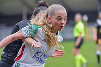 Tess Lameir (18) of OHL pictured during a female soccer game between Eendracht Aalst and OHL on the 13 th matchday of the 2020 - 2021 season of Belgian Scooore Womens Super League , Saturday 6 th of February 2021  in Aalst , Belgium . PHOTO SPORTPIX.BE | SPP | STIJN AUDOOREN