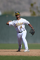 Oakland Athletics second baseman Jesus Lopez (4) during an Instructional League game against the Chicago Cubs on October 16, 2013 at Papago Park Baseball Complex in Phoenix, Arizona.  (Mike Janes/Four Seam Images)
