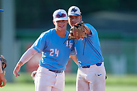 Kohl Robertson (24) and Austin Grause (20) during the WWBA World Championship at Terry Park on October 10, 2020 in Fort Myers, Florida.  Austin Grause, a resident of Tampa, Florida who attends Gaither High School, is committed to South Florida.  Kohl Robertson, a resident of Land O'Lakes, Florida who attends Sickels High School is committed to Florida Southwestern State College. (Mike Janes/Four Seam Images)