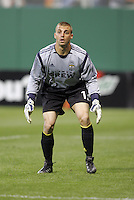 7 May 2005.  Columbus Crew goalkeeper Jon Busch (1) watches the action on the field at RFK Stadium in Washington, DC.