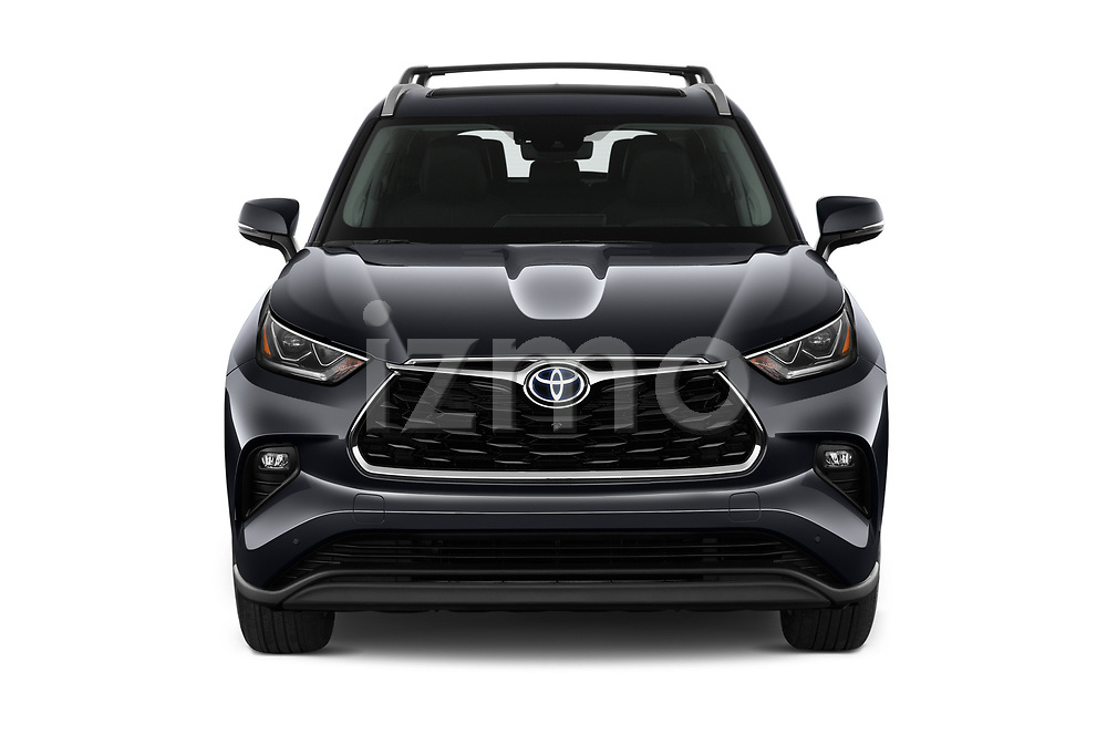 Car photography straight front view of a 2021 Toyota Highlander-Hybrid Limited 5 Door SUV Front View