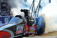 Sept. 21, 2012; Ennis, TX, USA: NHRA top fuel dragster driver David Grubnic during qualifying for the Fall Nationals at the Texas Motorplex. Mandatory Credit: Mark J. Rebilas-US PRESSWIRE