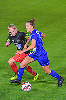Gent's midfielder Chloe Vande Velde (10) and Woluwe's midfielder Jana Simons (8) pictured during a female soccer game between  AA Gent Ladies and Femina White Star Woluwe on the third matchday of the 2020 - 2021 season of Belgian Scooore Womens Super League , friday 2 nd of October 2020  in Oostakker , Belgium . PHOTO SPORTPIX.BE | SPP | STIJN AUDOOREN