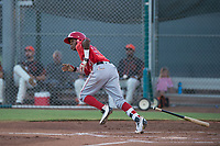 AZL Angels third baseman Daniel Ozoria (23) starts down the first base line during an Arizona League game against the AZL Giants Black at the San Francisco Giants Training Complex on July 1, 2018 in Scottsdale, Arizona. The AZL Giants Black defeated the AZL Angels by a score of 4-2. (Zachary Lucy/Four Seam Images)