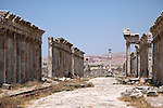 The cardio maximus , or main street, of the Roman ruins of Apamea on the right bank of the Orontes River.  Its site is found about 55 km  to the northwest of Hama,  overlooking the Ghab valley.
