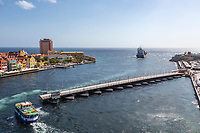 Willemstad, Curacao, Lesser Antilles.  Queen Emma Pontoon Bridge Closing after Transit of a Cargo Ship Leaving Sint Anna Bay.