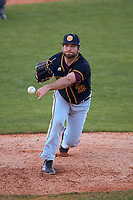 Bethune-Cookman Wildcats relief pitcher Charles Eytel (39) delivers a pitch during a game against the Wisconsin-Milwaukee Panthers on February 26, 2016 at Chain of Lakes Stadium in Winter Haven, Florida.  Wisconsin-Milwaukee defeated Bethune-Cookman 11-0.  (Mike Janes/Four Seam Images)