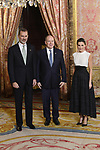 King Felipe VI of Spain (L) and Queen Letizia of Spain (R) receive Prince Albert II of Monaco (C) because of the United Nations conference for the Climate Summit 2019 (COP25) at the Royal Palace. December 2,2019. (ALTERPHOTOS/Pool/Carlos Alvarez)