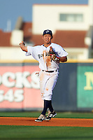 Pensacola Blue Wahoos third baseman Ray Chang (7) throws to first after making a play during the second game of a double header against the Biloxi Shuckers on April 26, 2015 at Pensacola Bayfront Stadium in Pensacola, Florida.  Pensacola defeated Biloxi 2-1.  (Mike Janes/Four Seam Images)