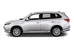 Car driver side profile view of a 2018 Mitsubishi Outlander PHEV Instyle 5 Door SUV