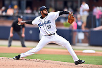 Asheville Tourists starting pitcher Antonio Santos (10) delivers a pitch during a game against the Rome Braves at McCormick Field on June 25, 2017 in Asheville, North Carolina. The Braves defeated the Tourists 7-2. (Tony Farlow/Four Seam Images)