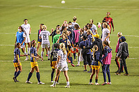 SANDY, UT - OCTOBER 03: Portland Thorns FC and Utah Royals FC congratulate each other after a game between Portland Thorns FC and Utah Royals FC at Rio Tinto Stadium on October 03, 2020 in Sandy, Utah.