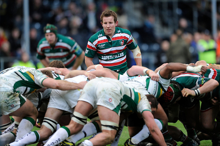James Grindal of Leicester Tigers looks on during the LV= Cup Final match between Leicester Tigers and Northampton Saints at Sixways Stadium, Worcester on Sunday 18 March 2012 (Photo by Rob Munro, Fotosports International)