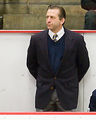 Keith Allain (Yale - Head Coach) - The Harvard University Crimson defeated the visiting Yale University Bulldogs 8-2 in the third game of their ECAC Quarterfinal matchup on Sunday, March 11, 2012, at Bright Hockey Center in Cambridge, Massachusetts.
