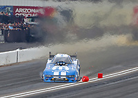 Feb 23, 2020; Chandler, Arizona, USA; NHRA funny car driver Matt Hagan hits the finish line timing block during the Arizona Nationals at Wild Horse Pass Motorsports Park. Mandatory Credit: Mark J. Rebilas-USA TODAY Sports