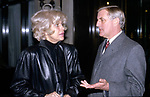Carol Channing chatting with Walter Mondale on February 28, 1981 at the Regency Hotel in New York City.